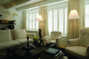 window shutters white modern living room - Fitted by the shutter company Newport