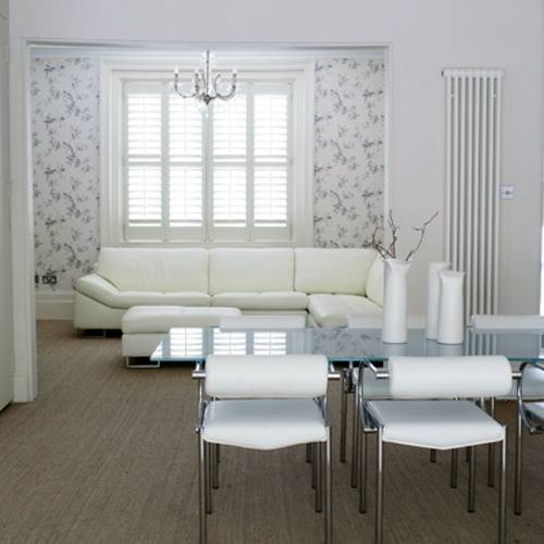 Dining room white indoor shutters