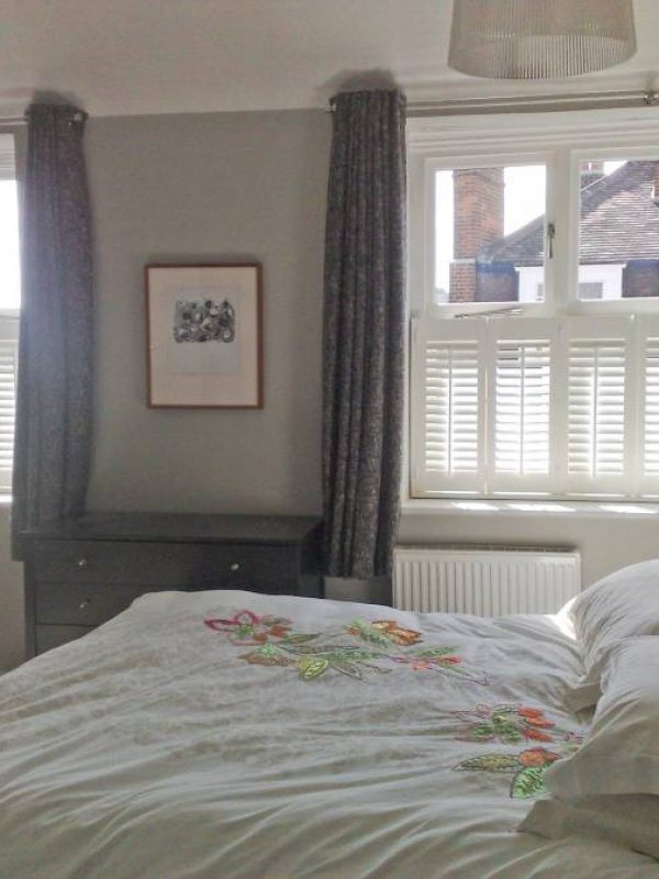 Cafe Style Shutters with Curtains (MD) - Fitted by the shutter company Newport
