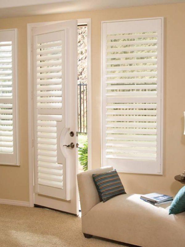 White door shutter inside living room