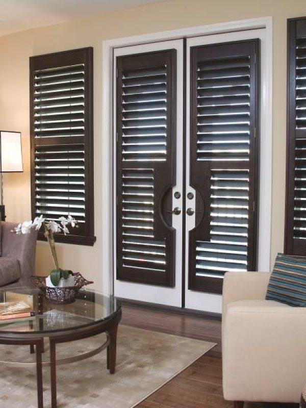 Brown window inside shutter blinds the shutter company