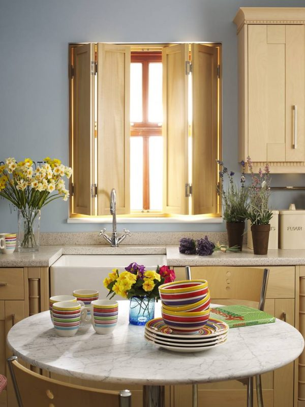 wooden Solid Panel Shutter kitchen