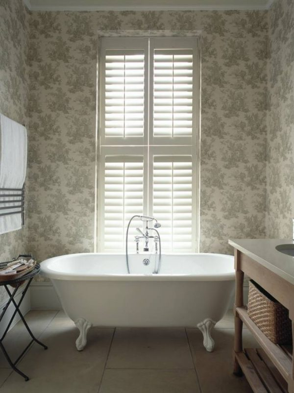 bathroom white window shutter the shutter company